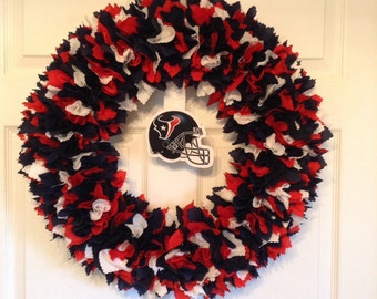 Houston Texans Fabric Wreath-Picture displays how wreath will look with team logo ( must be attached by consumer)