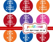 Bottle Cap Image Sheet - Keep Calm Collection 1 -  1 Inch Digital Collage for Buttons and Bottlecaps - Buy 2 Get 1 Free