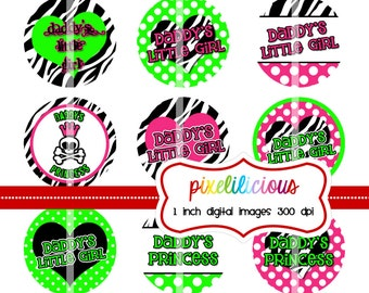 Bottle Cap Image Sheet - Instant Download - Daddy's Little Girl 1 -  1 Inch Digital Collage - Buy 2 Get 1 Free
