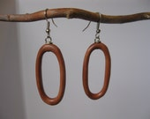 Exotic Hard Wood hoop earrings.  Medium sized, sophisticated ovals, FREE SHIPPING, carded with giftbox