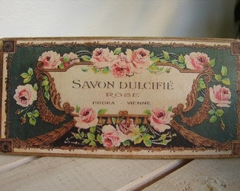 Savon Dulcifie, rose soap, shabby chic vintage French savon, soap advertising label on wood