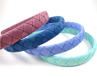 Headband Gift SET - Braided Ribbon Woven Headband - Mauve Headband - Blue Headband - Aqua Headband - Toddler Teenager Adult Headband