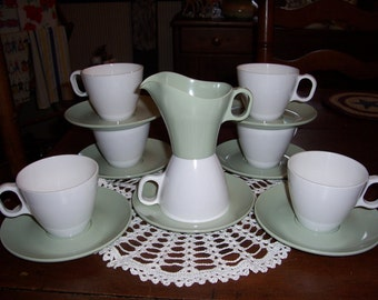 Vintage Boonton... .Set of 15..White & Sage Cups and Saucers..Creamer...Great Condition...Retro Kitchen...Mid Century...