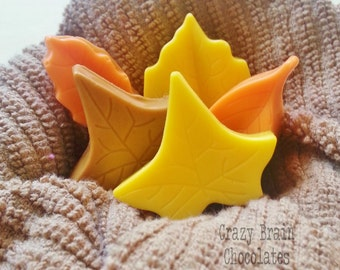 Solid Chocolate Fall Leaves (12)