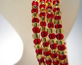 Bracelet Red and Gold colour Glass Rocaille Memory Wire Expandable Cuff Coil Ladies Jewellery