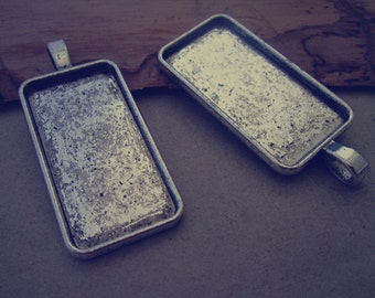 10pcs 19mm x38mm Antique silver rectangle tray Pendant Base