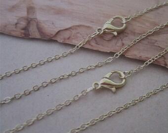 """25pcs  19inch  light Gold color  (copper) """" 0"""" shape Link  chain  1.5mm"""