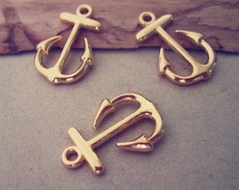 20pcs gold color anchor charm pendant  15mmx23mm