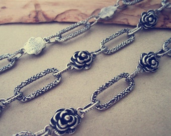 3.28ft  Fancy Antique silver Rose shape  Metal Chain Necklace Chain