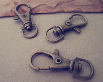10pcs Antique  Bronze key chain 14mmx38mm