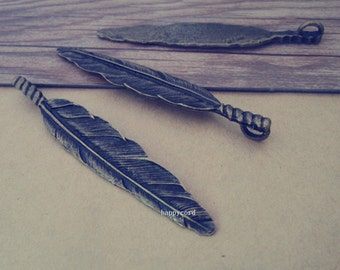 5pcs of Antique Bronze feather Pendant Charms 14mmx80mm