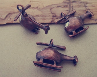 4pcs Antique copper red Hollow out  Double sided plane pendant charm 23mm x27mm