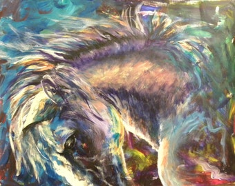 "Acrylic horse painting  ""Begins Again"""