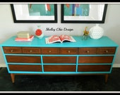 Mid Century Wood Dresser with Turquoise Details