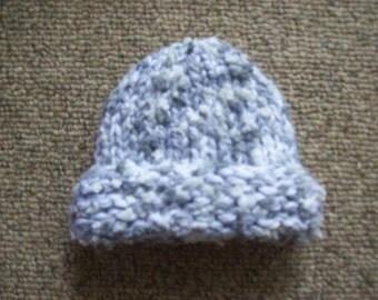 Hat,Babies,Boys,Girls,Newborn,Gray,White,Cream,Hand Knit,Gift,Shower,Photo