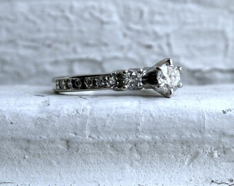 Vintage Three Stone Diamond Engagement Ring in 14K White Gold - 0.84ct.
