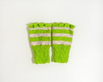 Hand Knitted Fingerless Gloves - Light Green, Size Small