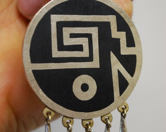 Vintage Tribal Necklace -  Sterling Silver Black Onyx