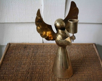 Vintage brass angel candle holder, holiday decor, Christmas decoration