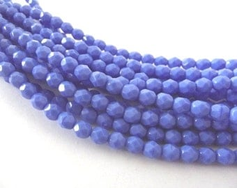 25 Opaque Blue Firepolished Faceted 6mm Czech Glass Beads