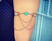 turqoise green arm bracelet, turquoise/green and filigree armlet, upper arm chain, body chain, unique jewelry, turquoise jewelry