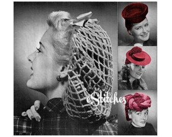 PDF 1940s Snood and Hats with Head Coverings - 4 Crochet pattern PDF 0375