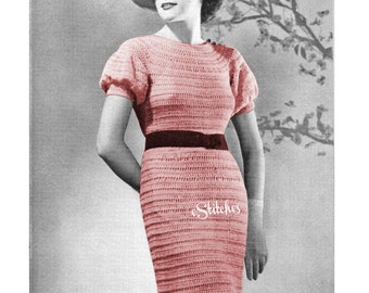 1930s Dress with Puff Sleeves from Hairpin Lace Creations - 1 Hairpin Lace pattern PDF 8952