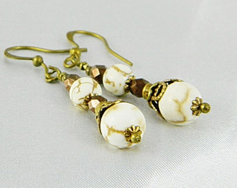 White Turquoise Earrings, Pierced, Brown Faceted Beads, Antique Brass, French Ear Wires