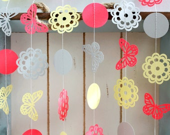 Yellow, Grey, Bright Coral Butterfly Doily 10 ft Paper Garland- Wedding, Birthday, Baby Shower, Party Decorations, Garden Party