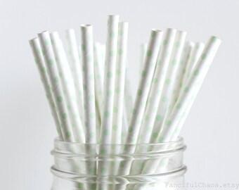 25 Mint Green Polka Dots Paper Straws - Garden Partys, Wedding, Birthday, Baby Shower, Celebrations