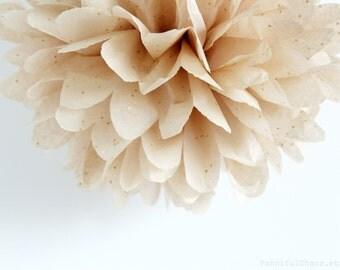 Sand Beige Gold Glitter Tissue Paper Pom Poms- Wedding, Birthday, Bridal Shower, Baby Shower, Party Decorations, Garden Party