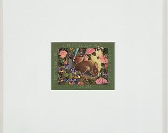 garden rabbit mini digital arcival print matted art