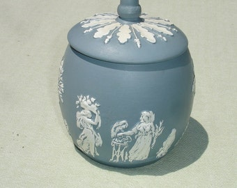 Wedgewood Blue Lidded Ceramic Jar with Lovely Greek Scene