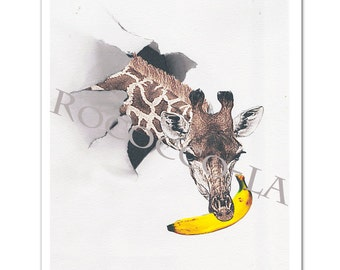Giraffe with Banana - Mixed media Decorative art Animal painting drawing illustration portrait  print POSTER 8x10