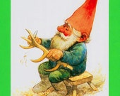 Vintage art print 80s. Illustration of a gnome by Rien Poortvliet.