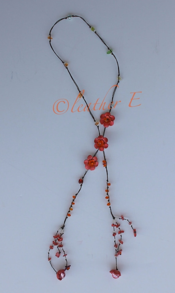 flower lariat leather necklace - purely coral
