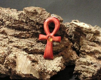 ANKH pagan jewelry red cross wicca symbol hand carved wooden pendant slavic celtic nordic viking woodworking wood amber sterling silver