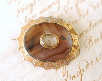 SALE! 1800's Antique Victorian / Agate Mourning hair brooch / blonde hair / Acanthus / 9k solid yellow gold