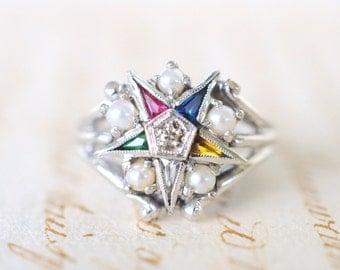 SALE - 1940's vintage / Order of the Eastern Star / white pearls 10k white gold diamond ring / fraternal organisation / Masonic