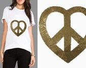 Gold Sequins PEACE patch applique transferred by Hot Fix, Iron On