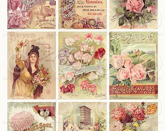 Vintage Seed Catalogue ATC backgrounds Collage Sheet Printable Digital Download File