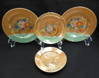 Japan Lusterware Tea Party Dishes Four Plates with Flowers Tan and Mint Green