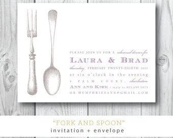 Fork and Spoon Printed Invitations   Engagement Dinner Party Invitation   Printed or Printable by Darby Cards