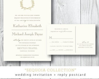 Sequoia Printed Wedding Invitations | Fall Wreath Traditional Wedding Invitation Suite | Printed or Printable by Darby Cards