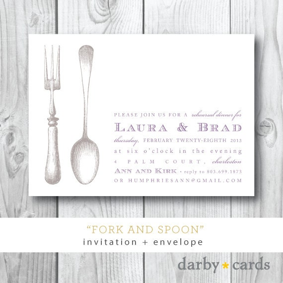Fork and Spoon Printed Invitations | Engagement Dinner Party Invitation | Printed or Printable by Darby Cards