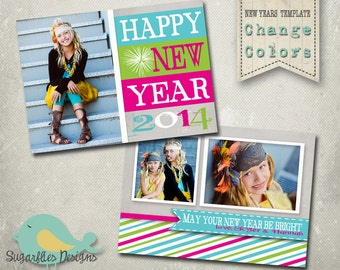 New Year Card PHOTOSHOP TEMPLATE - Happy New Year Card 107