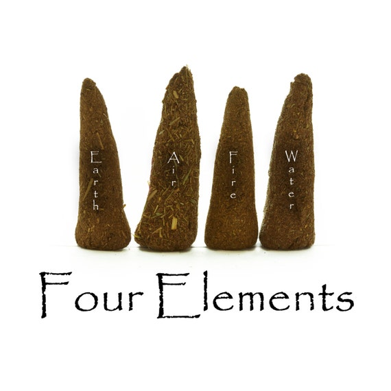 The Four Elements, Artisan Hand Made Incense Cones,  Set of 12