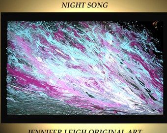 """Original Large Abstract Painting Modern Contemporary Canvas Art  Black Blue Purple NIGHT SONG 36""""x24"""" Palette Knife Texture Oil J.LEIGH"""