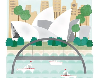 Sydney Australia art print illustration - 11x14 - city art poster Australia
