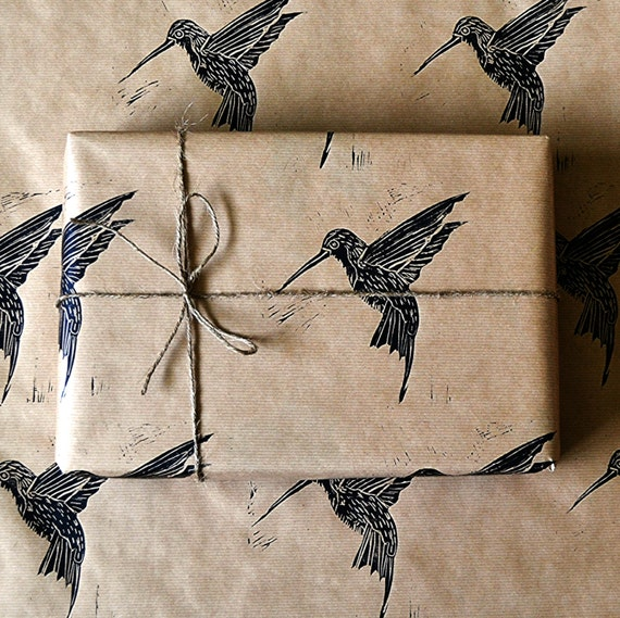 Hummingbird Rustic Hand Printed Wrapping Paper - Three Sheets